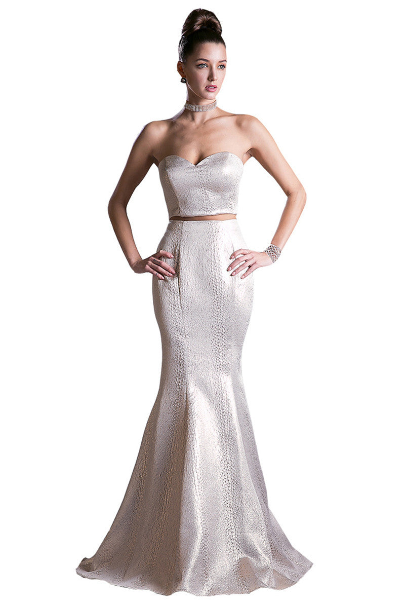 Champagne Two Piece Evening Gown