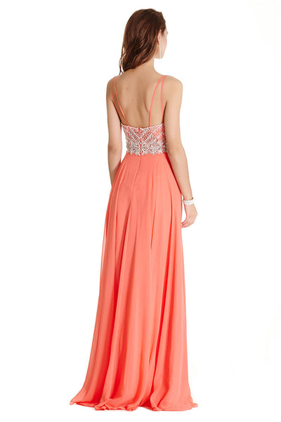 Coral Colored Long Evening Dress