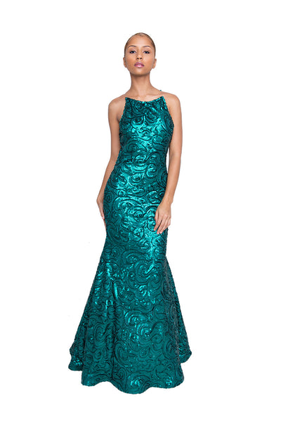 Emerald Green Sequined Long Dress