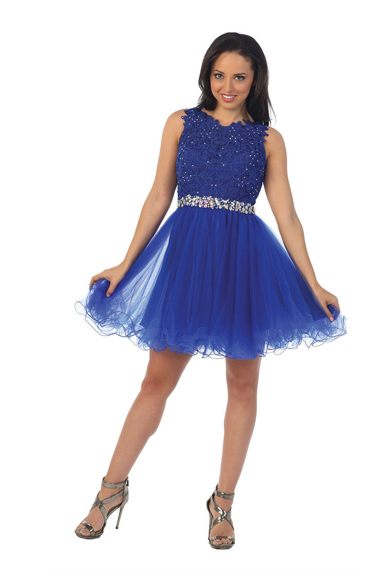 Royal Blue Fit & Flare Skater Lace Dress