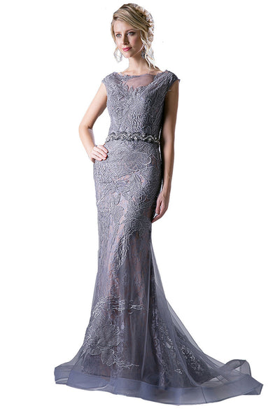 Floor Length Lace Cap Sleeve Evening Dress