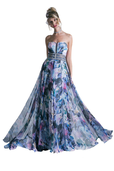 Floral Print Long Formal Dress