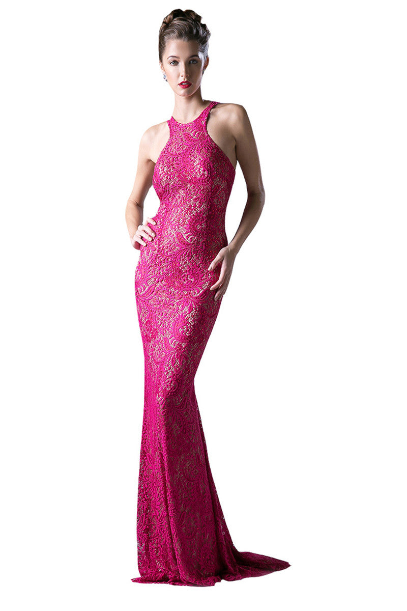 Fuchsia Lace Formal Evening Dress