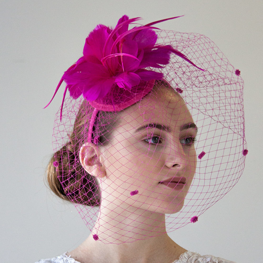 Fuschia Fascinator Headband With Veil