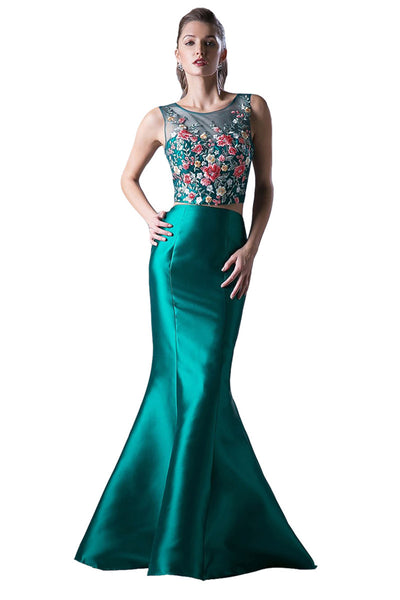 Green Floral Two Piece Mermaid Dress