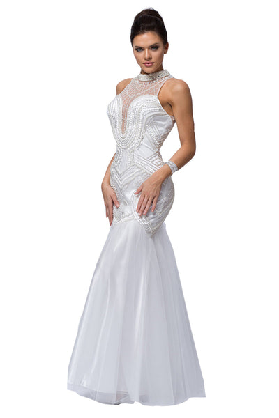 High Neck Trumpet Formal Evening Dress