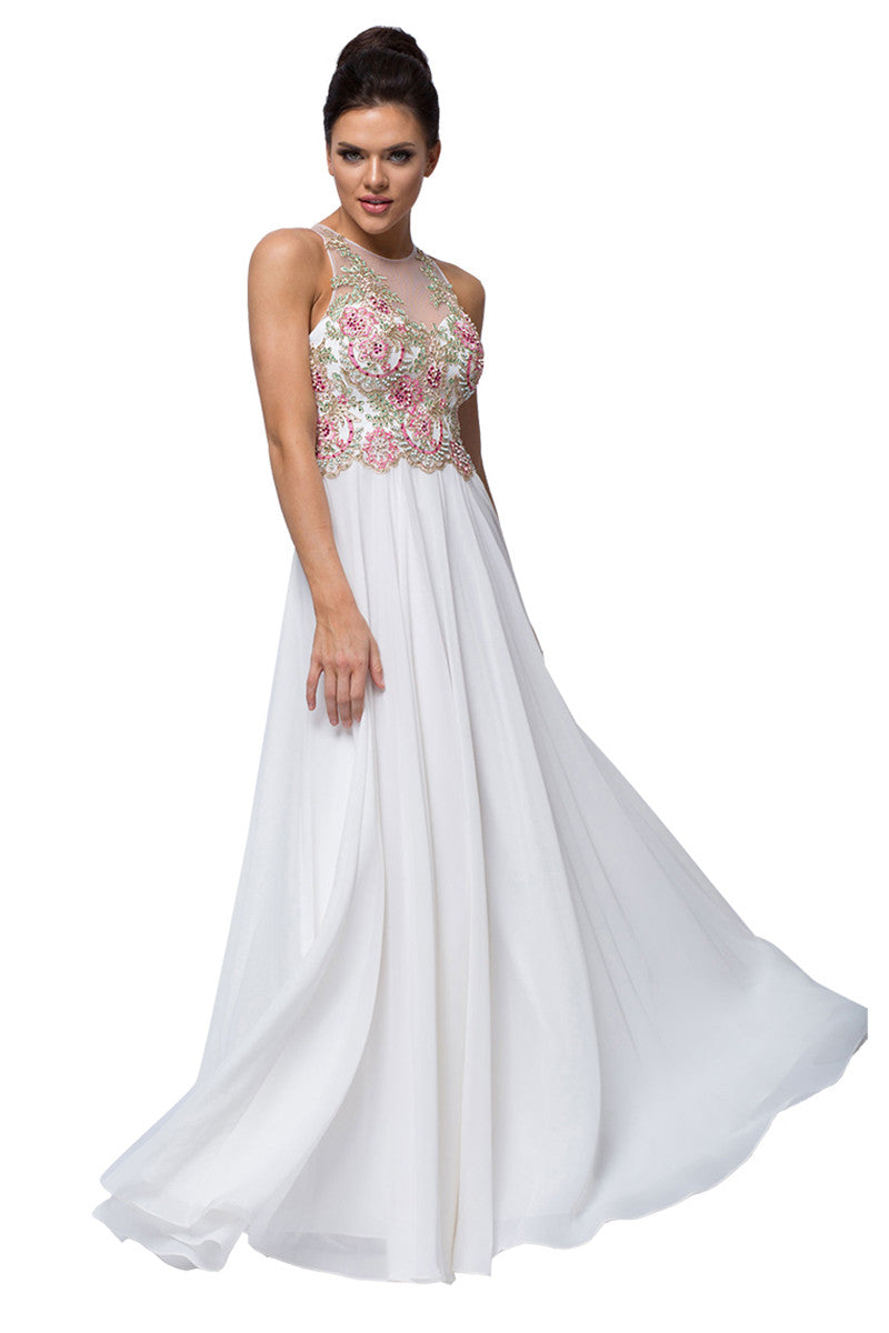 Ivory Beaded Bodice Evening Gown