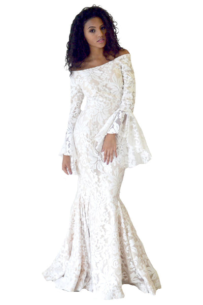 Ivory Long Sleeve Formal Evening Gown