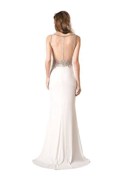 Ivory Mermaid Sheer Back Evening Gown