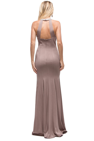 Jersey Halter Formal Evening Dress