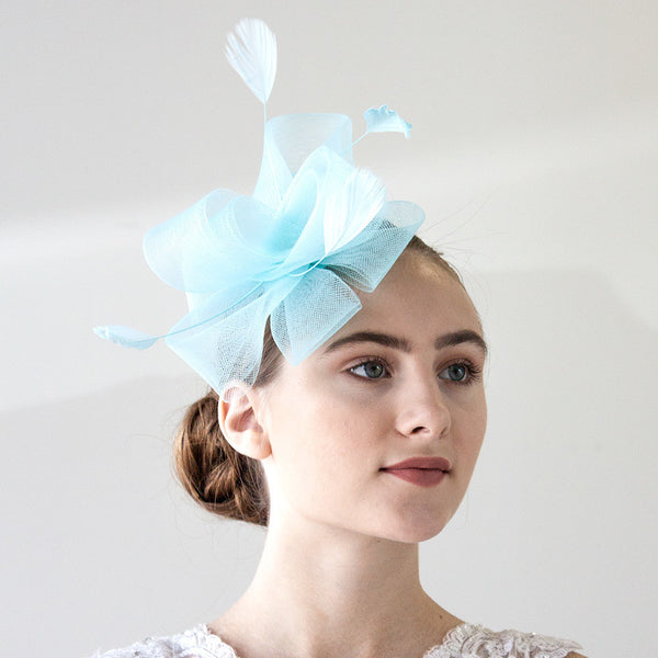 Light Blue Hair Fascinator With Feathers