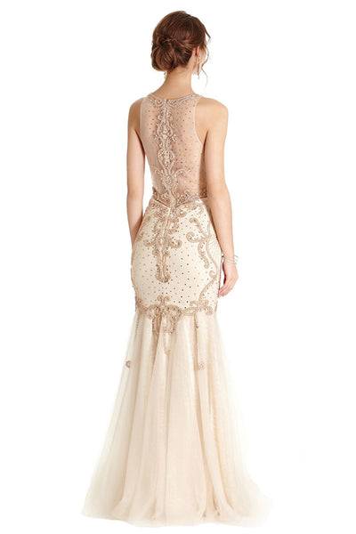 Long Beaded Evening Gown