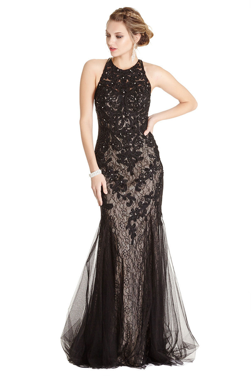 Long Black Lace Evening Dress