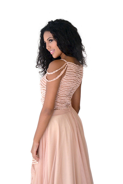 Long Blush Beaded Evening Dress