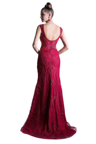 Long Lace Chiffon Overlay Evening Dress