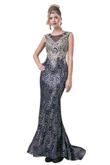 Long Sequined Lace Evening Dress