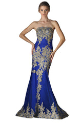 Long Strapless Evening Gown