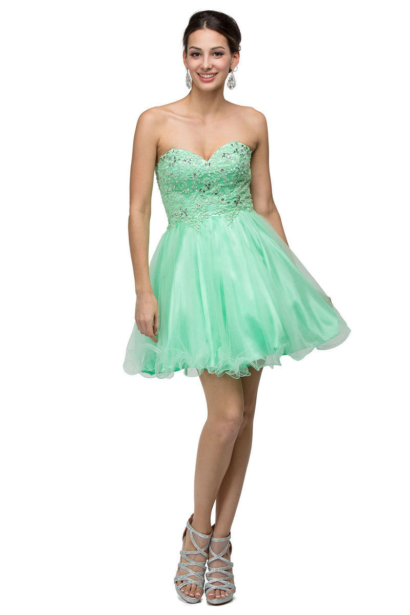Mint Strapless Short Tulle Dress