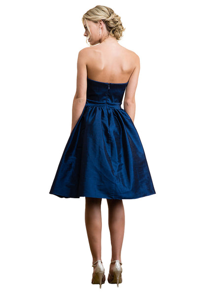 Navy Blue Knee Length Party Dress