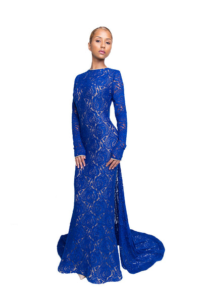 Navy Blue Lace Formal Trumpet Gown