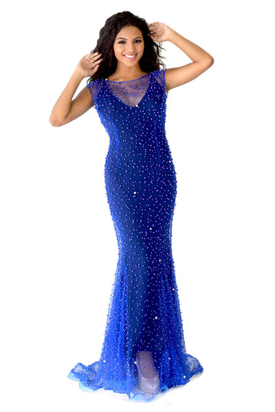 Navy Blue Long Beaded Evening Dress