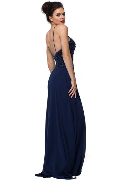 Navy Blue Long Evening Dress
