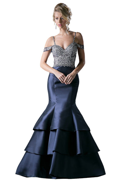 Navy Off the Shoulder Taffeta Mermaid Gown