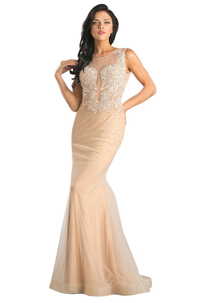 Nude Color Long Formal Dress