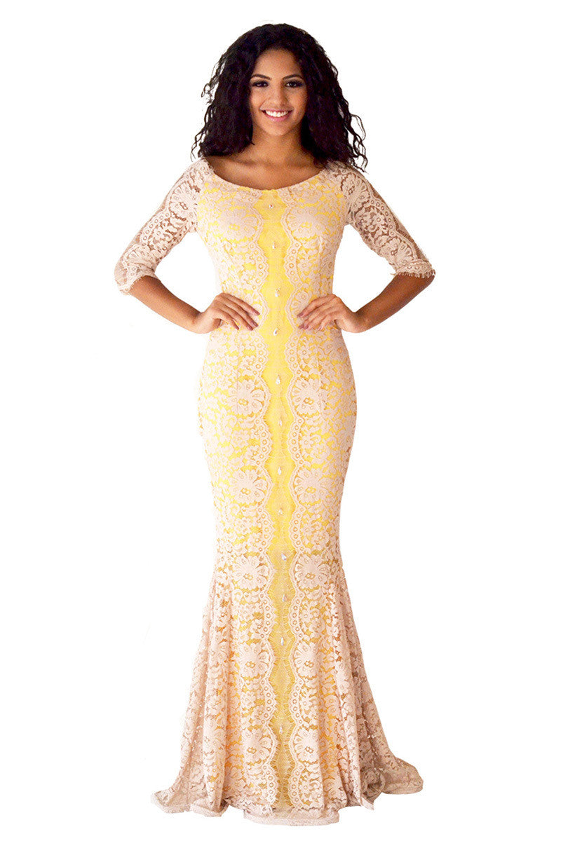 Nude Colored Lace Mermaid Dress