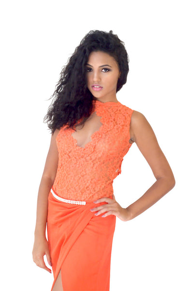 Orange Long Bodysuit Evening Dress
