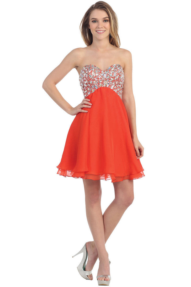 Orange Short Strapless Cocktail Party Dress