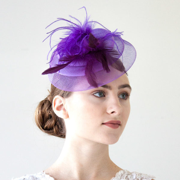 Purple Fascinator Hat With Feathers