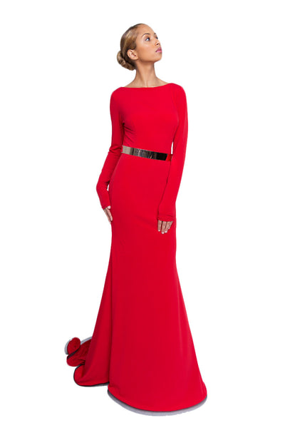 Red Jersey Open Back Mermaid Gown