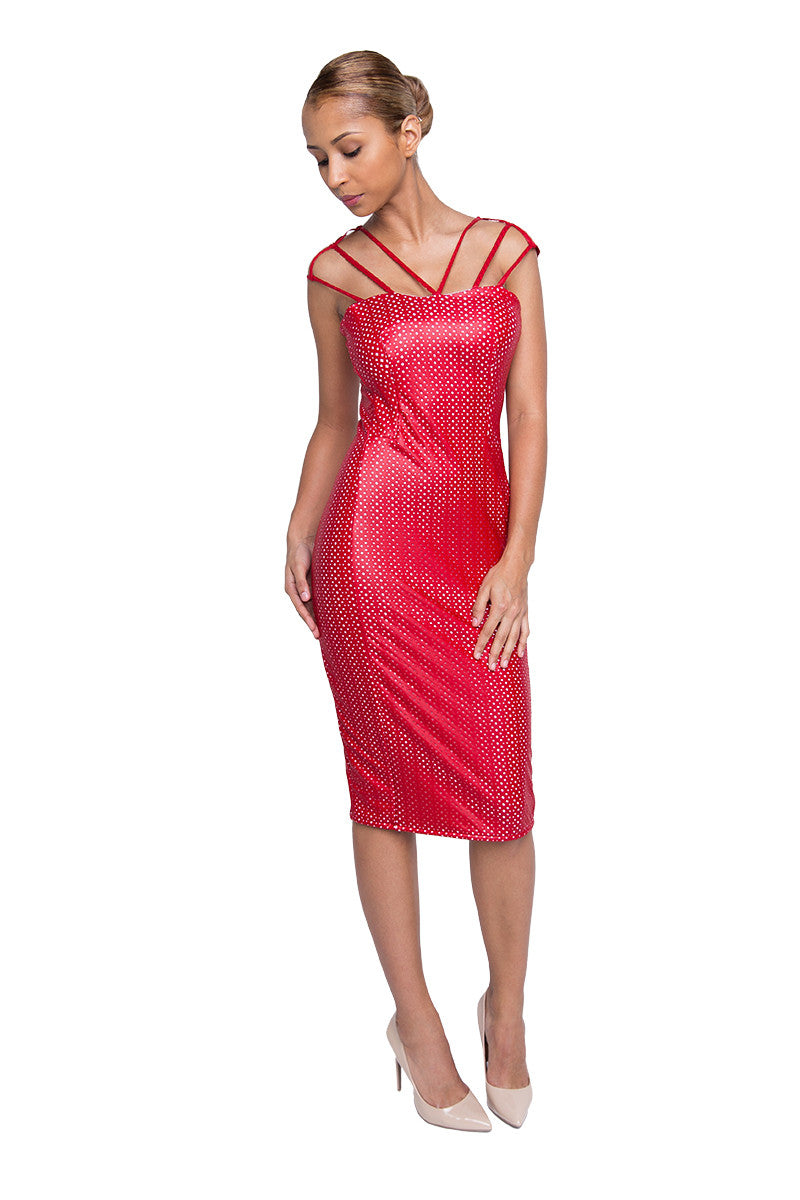 Red Leatherette Knee Length Party Dress
