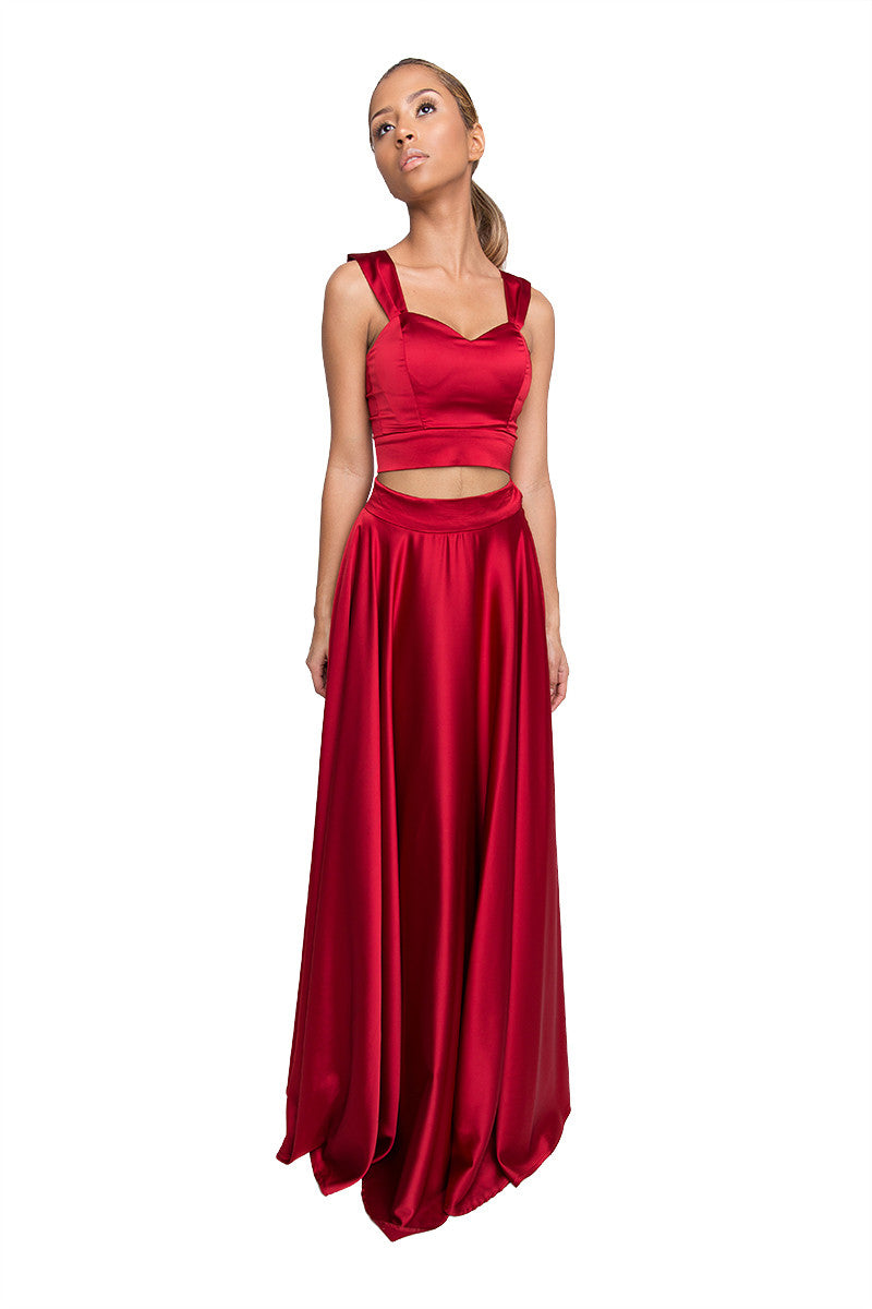 Red Two Piece Long Dress