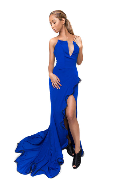 Royal Blue Evening Dress with Train