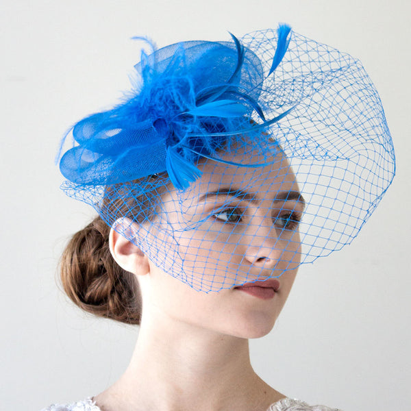Royal Blue Feather Fasciantor With Veil