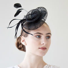 Small Black Fascinator with Feathers