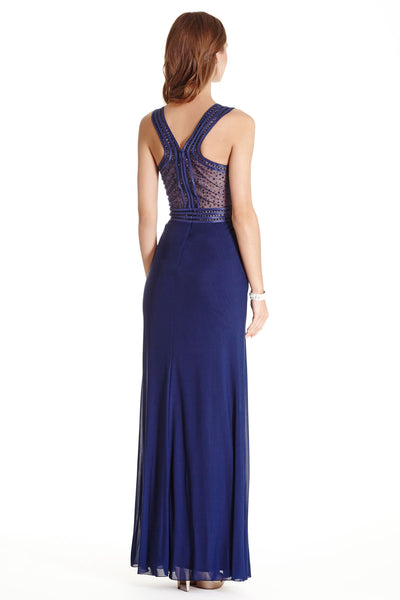 Ruched Sparkling Racer Back Long Evening Dress