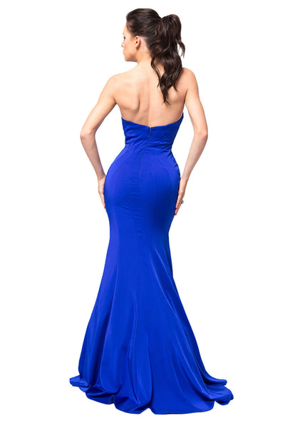 Strapless Open Back Mermaid Dress