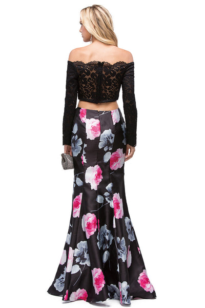 Two Piece Floral Formal Dress