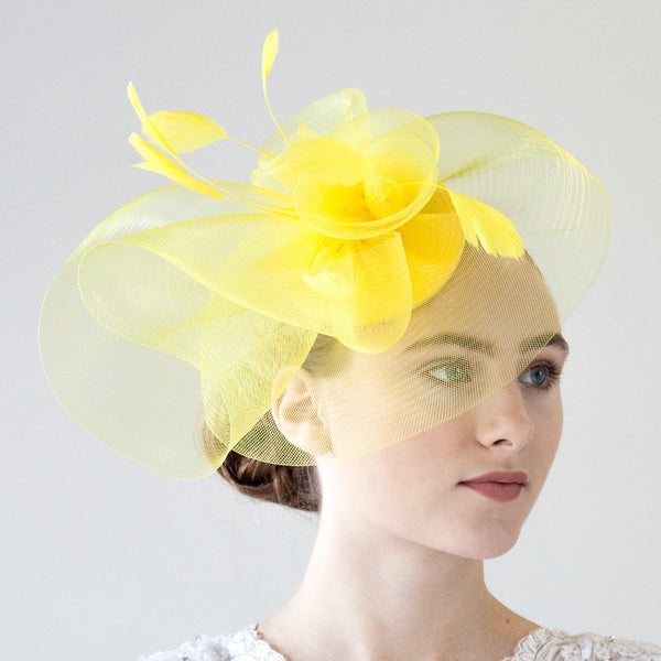 Yellow Fascinator Hat for Women
