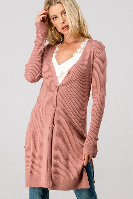 MAUVE RIBBED LONG CARDIGAN WITH BUTTONS