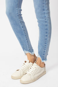 Gemma Light Ultra High Rise Skinny Jean with flutter hem