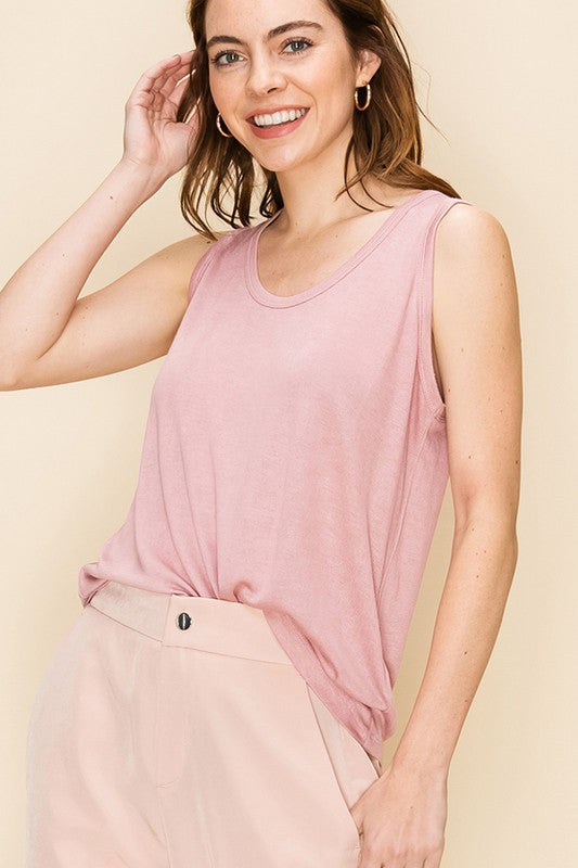 SCOOP NECK LOOSE FIT TANK TOP  DESERT ROSE