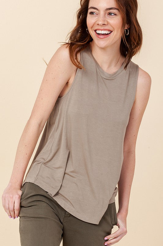 SLEEVELESS SWING TANK TOP MOTH GRAY
