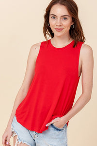 Sleeveless Swing Tank Top Red
