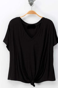 BASIC V NECK KNOTTED FRONT SHORT SLEEVE TOP