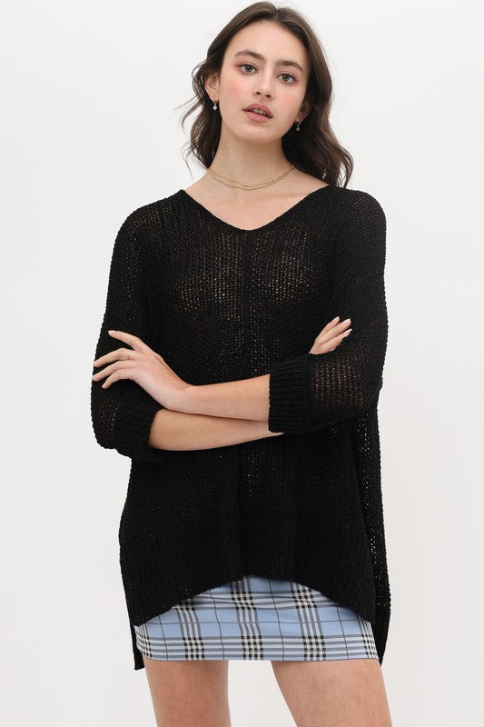 Oversized Loose Knit Sweater with Slits on Hem
