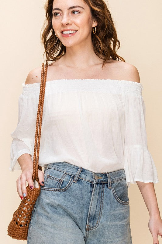 OFF THE SHOULDER BOXY TOP OFF WHITE